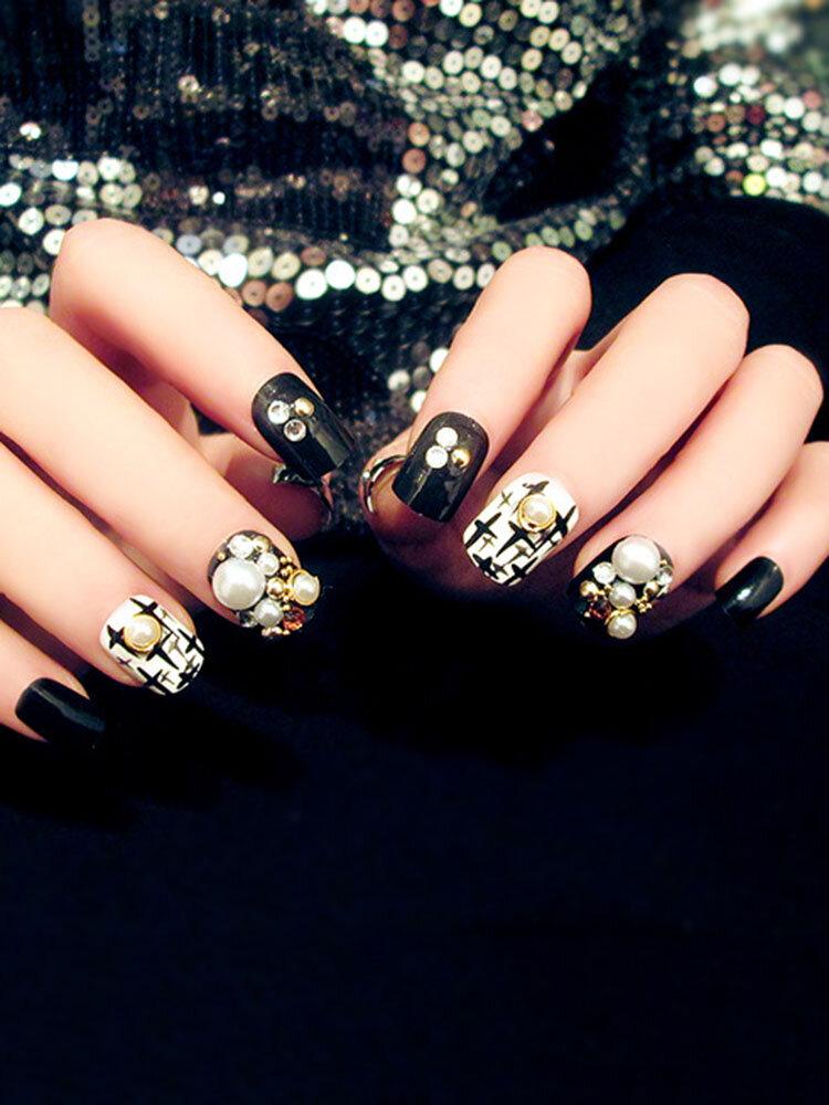 Pearl Fake Nail Black White Nail Tips For Nail Art Beauty Artificial Nails Manicure Tools