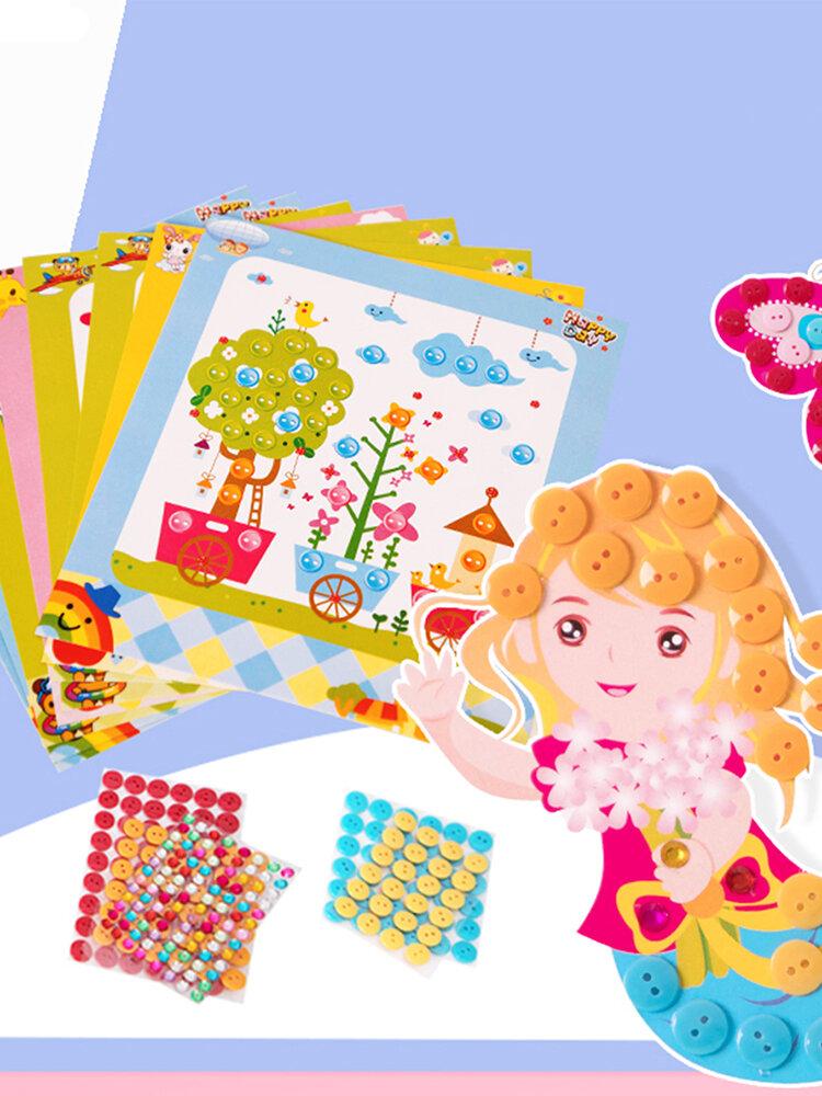 Creative Handmade Buttons Cartoon Stick Printing Toy Children Intelligence Toys Preschool Toys