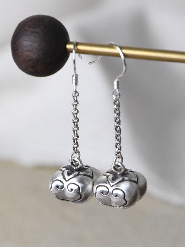 Vintage 925 Sterling Silver Earring Persimmon Pendant Long Earring Women Jewelry Gift