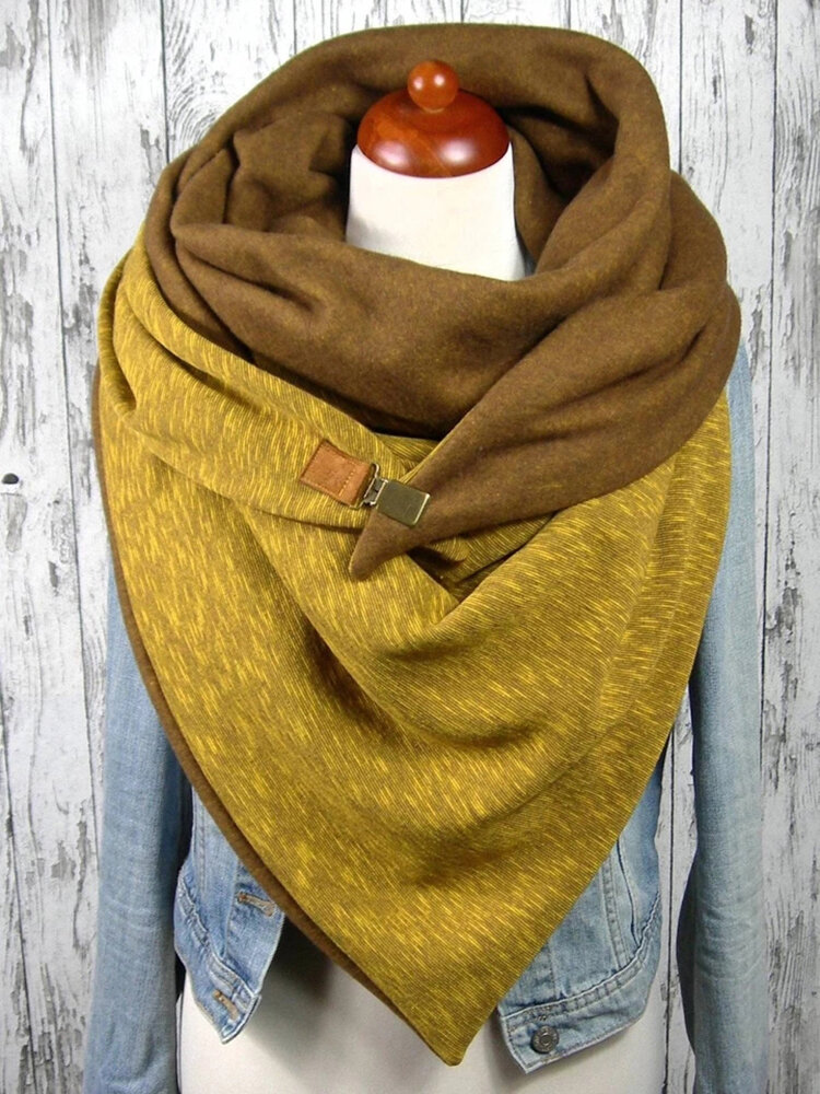 Women Solid Color Casual All-match Thick Warmth Shawl Scarf