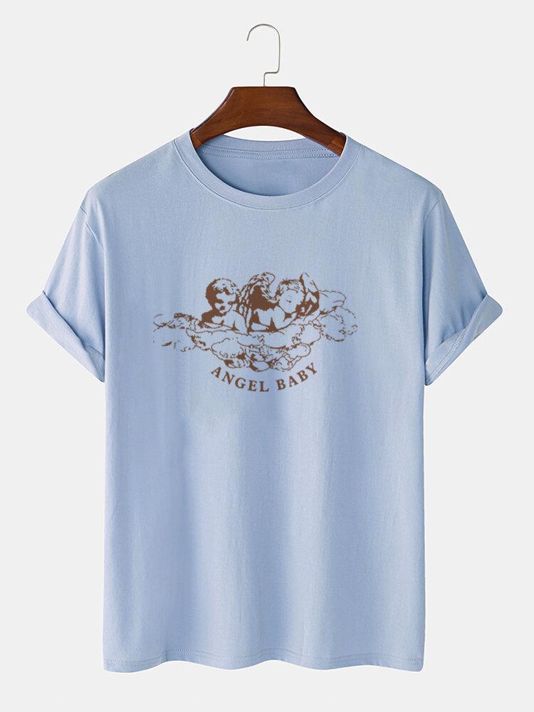 Mens 100% Cotton Angel Letter Graphics Short Sleeve T-Shirt