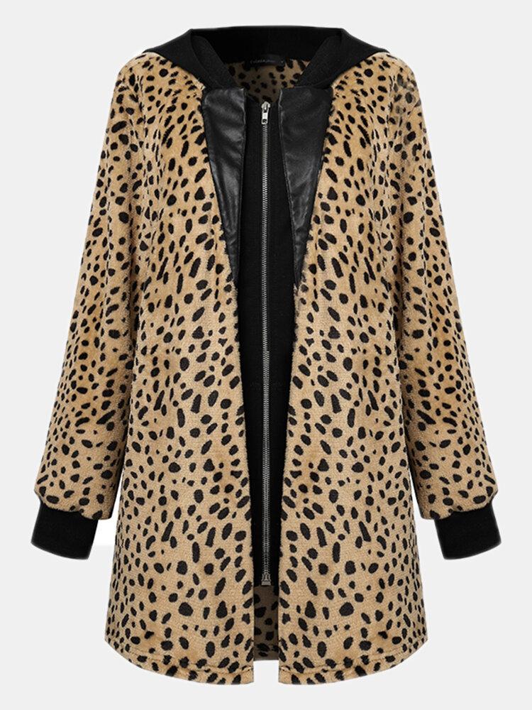 Leopard Print Patchwork Zipper Pocket Long Sleeve Casual Coat for Women