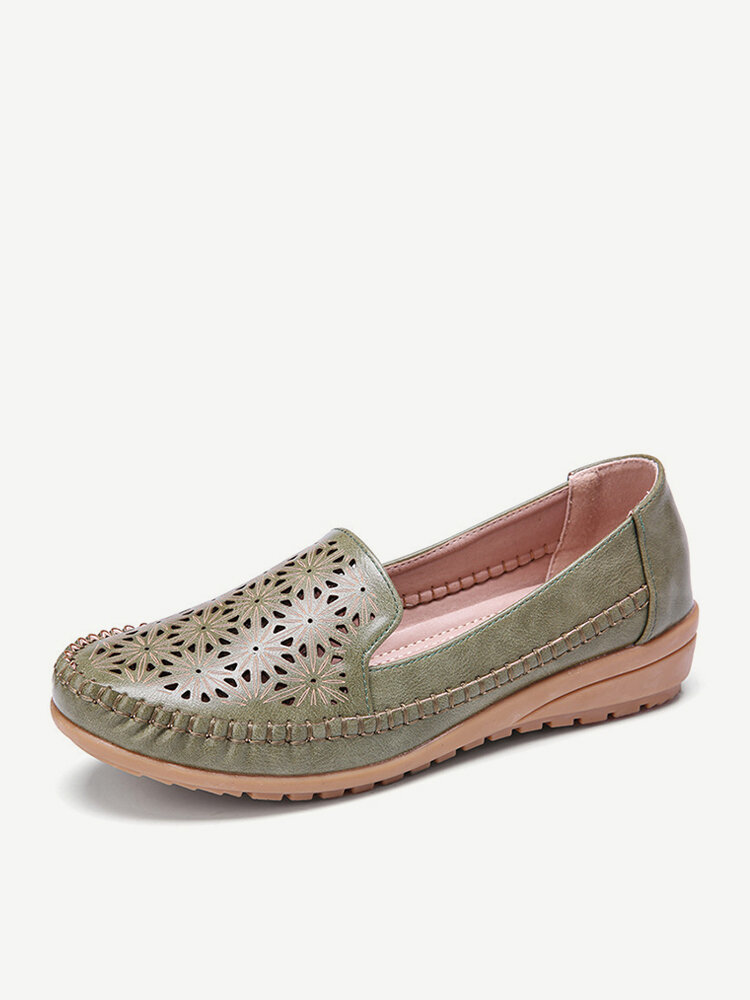 LOSTISY Women Floewrs Hollow Comfy Non Slip Casual Flat Loafers