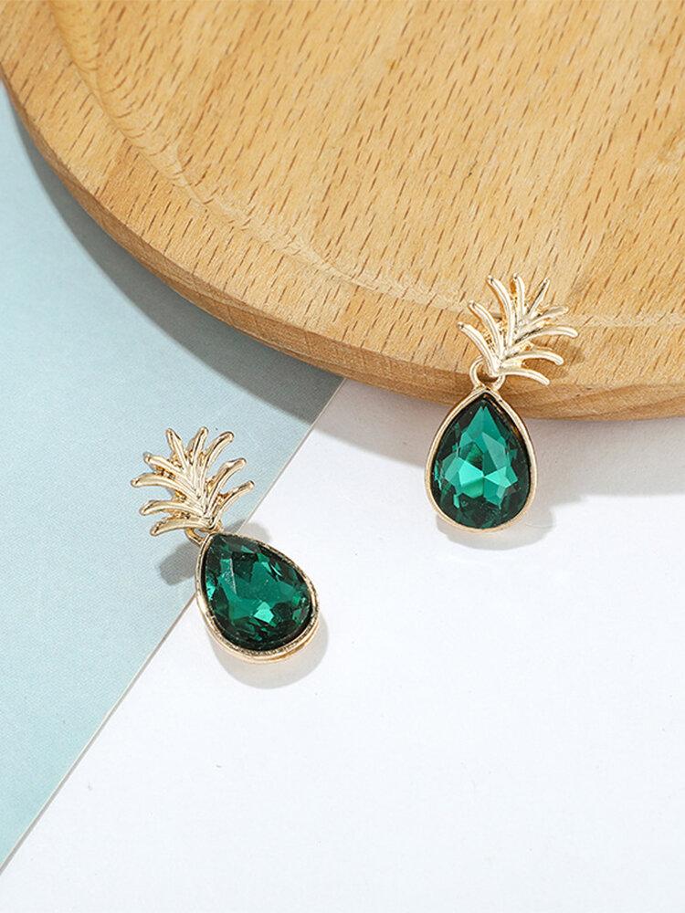 Countryside Pineapple Drop-shape Flashing Diamond Alloy Earrings