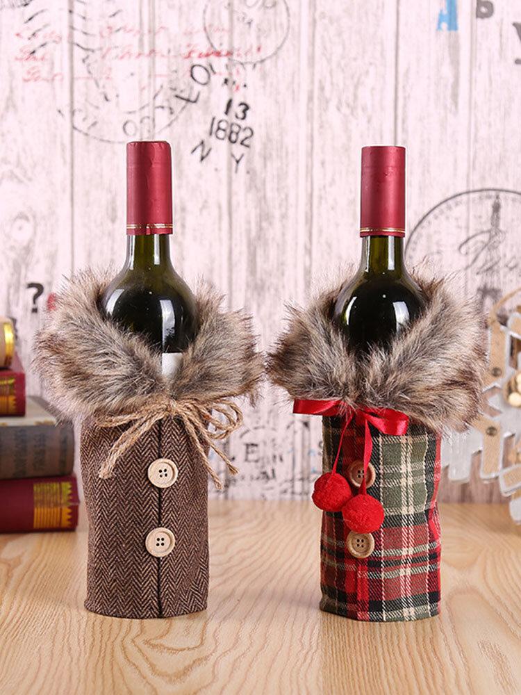 تعيين النبيذ عيد الميلاد مجموعة زجاجة الخيش الأوروبية والأمريكية عطلة الديكور