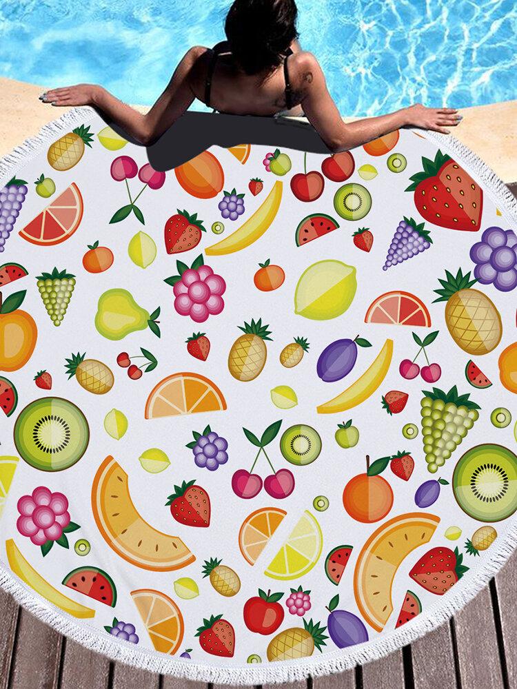 Круглые свежие фрукты Пляжный Полотенце Одеяло Гавайи Гавайи Тропики Большое Терри из микрофибры Пляжный Коврик для пикника Круглыйie Palm Circle Yoga Коврик с бахромой