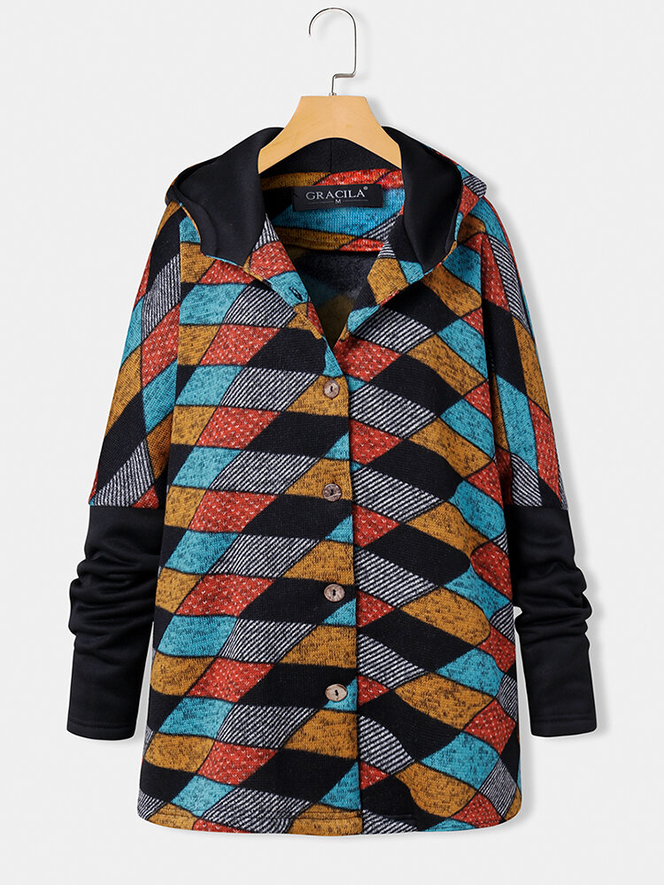 Vintage Plaid Print Long Sleeves Button Patchwork Casual Coat For Women