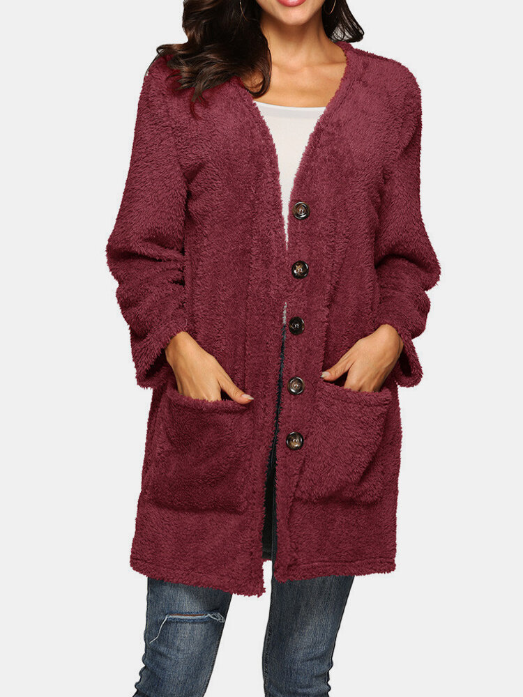 Solid Color Long Sleeve Pocket Cardigan For Women