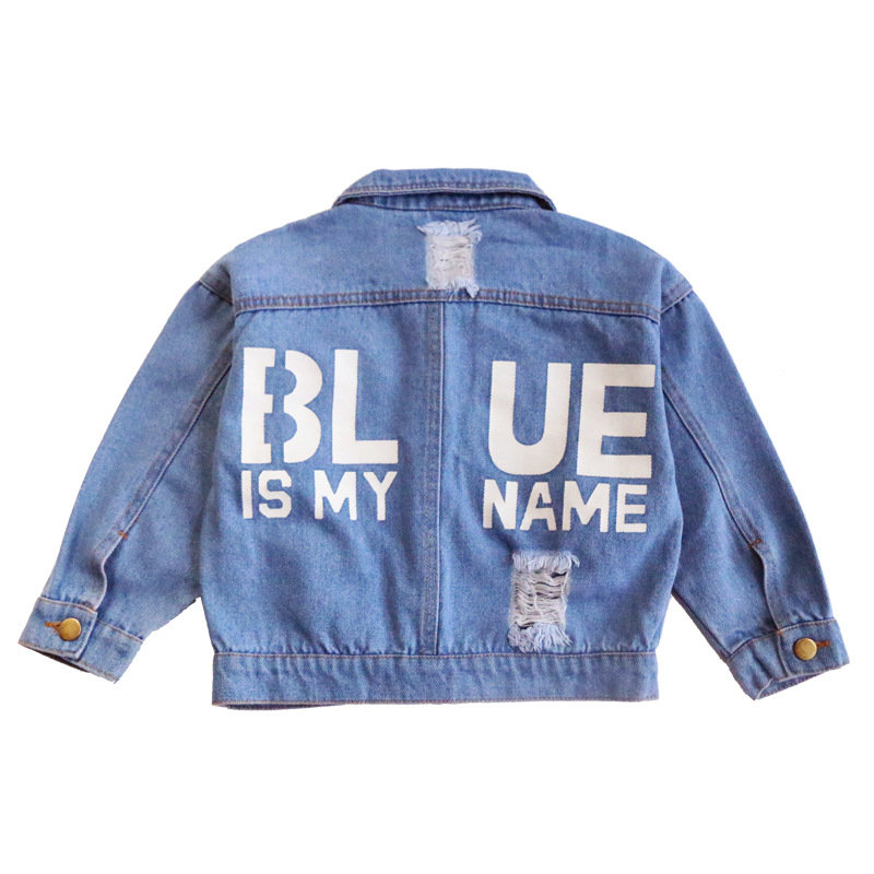 Letter Printed Kids Girls Jeans Jacket for Spring Autumn Casual Chic Look Children Clothes
