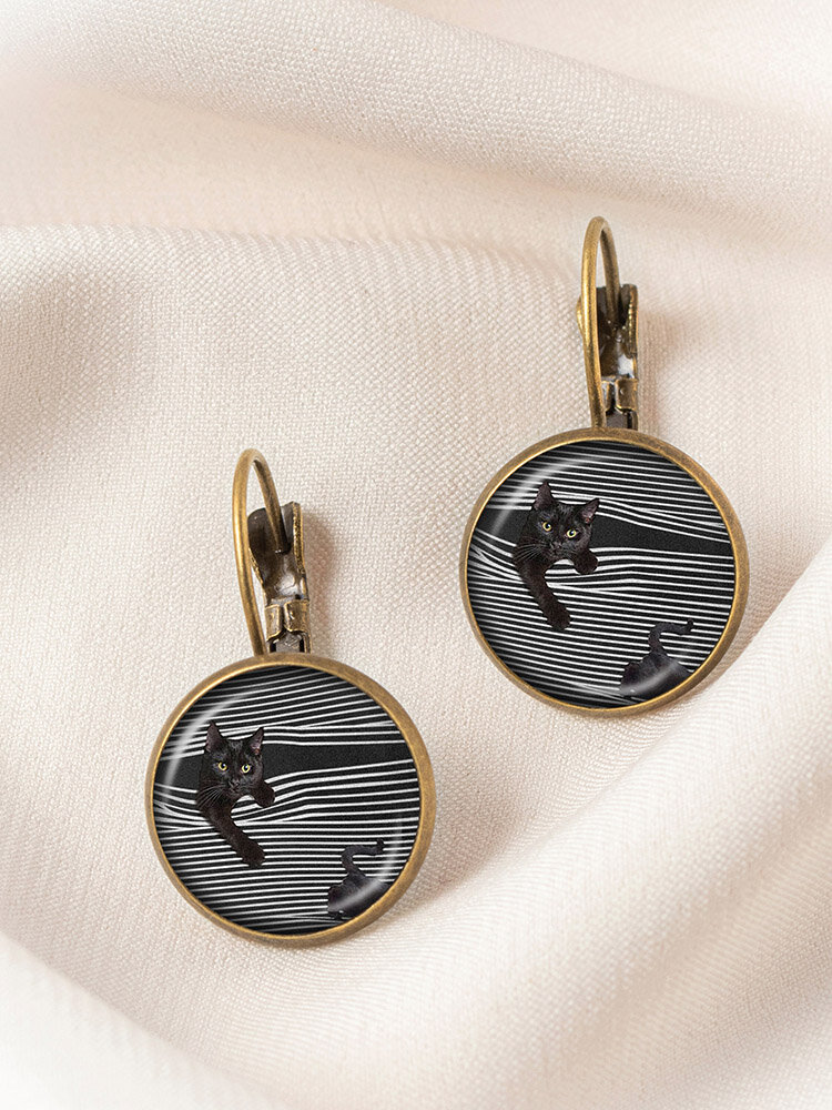 Metal Round Glass Cat Stick Out Head Print Women Earrings