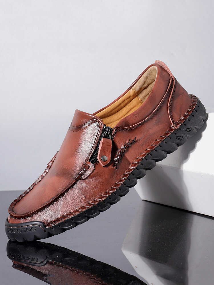 Menico Men Hand Stitching Non Slip Side Zipper Casual Leather Shoes
