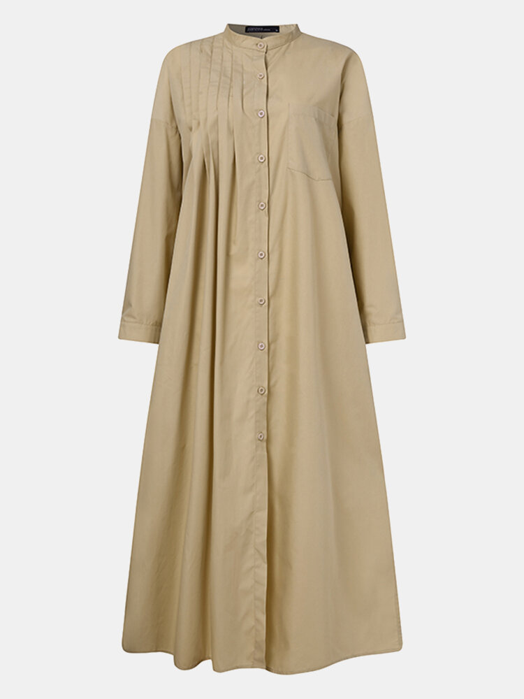 Women Solid Color Pocket Long Sleeve Loose Casual Pleated Dress