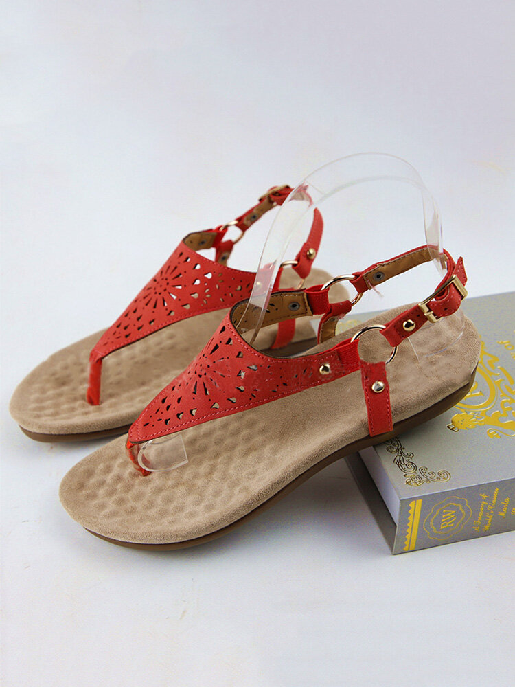 Women Casual Hollow Out Soft Sole Clip Toe Buckle Flat Sandals