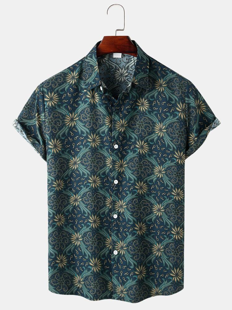 メンズヴィンテージフローラルプリントボタンアップ半袖シャツ