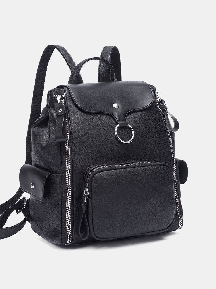 Casual Multi-pockets Zip Decor Large Capacity All-match Travel Backpack