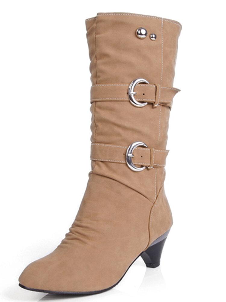 Big Size Pure Color Belt Buckle Wedges Mid Calf Women Boots