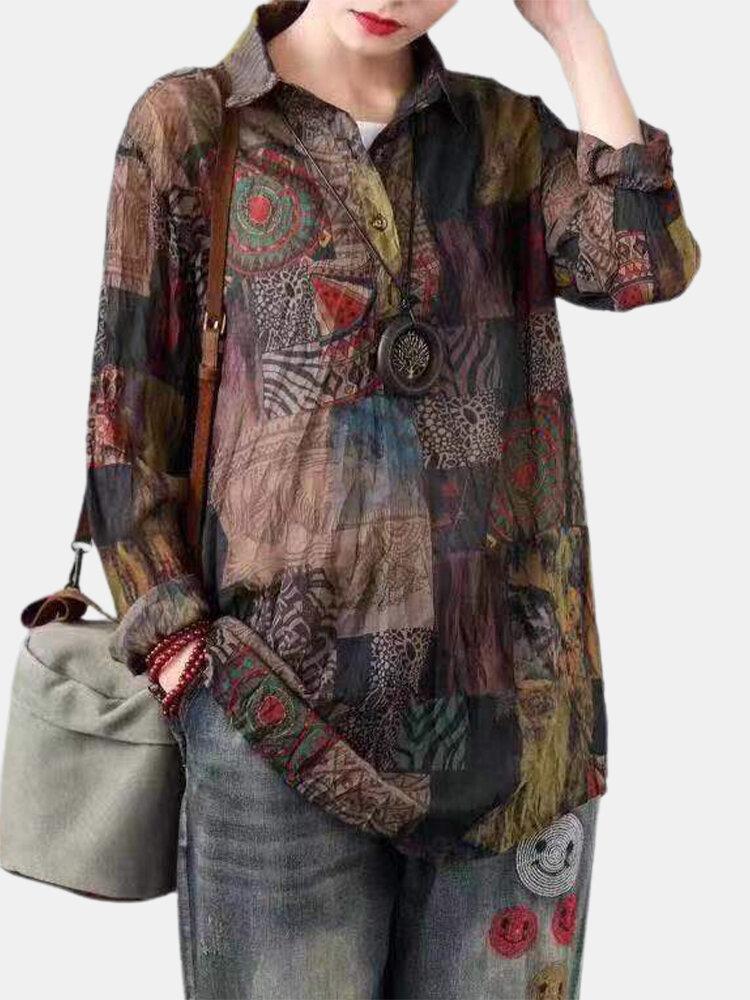 Vintage Print Long Sleeves Wrinkle Casual Lapel Blouse For Women