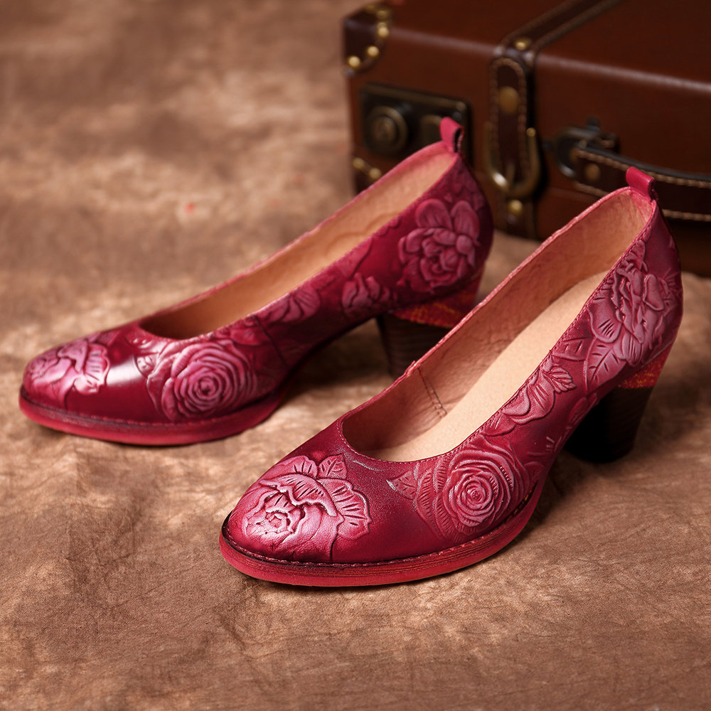 SOCOFY Vintage Hand Painted Embossed Cow Leather Two Color Stitching Casual Low Heel Pumps