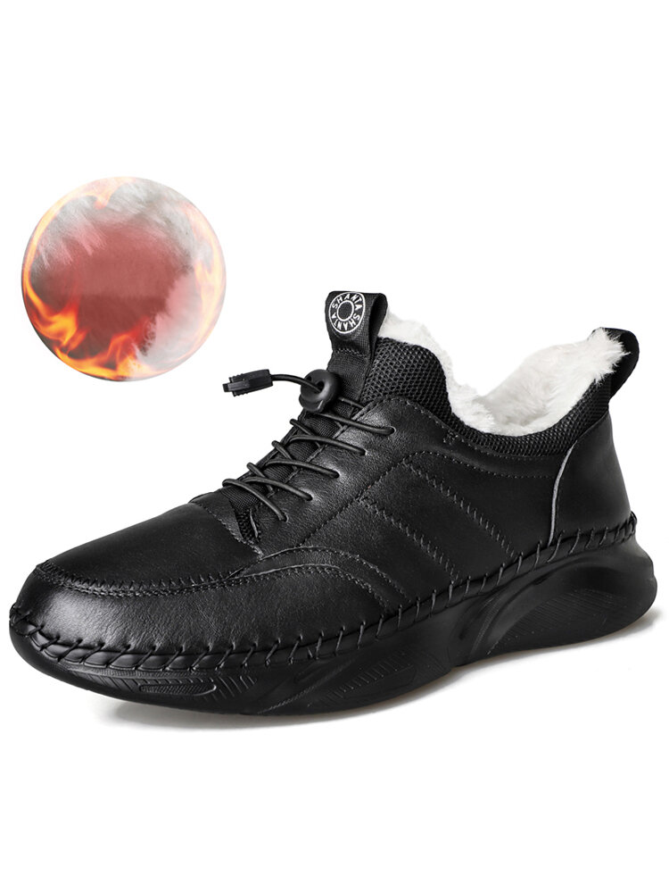 Men Cow Leather Winter Warm Hiking Fur Lining Suede Outdoor Sneakers