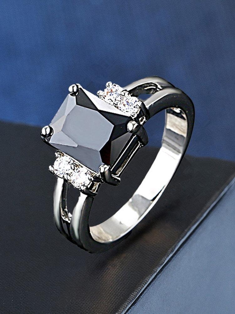 Vintage Geometric Diamonds Finger Rings Square Crystal Inlaid Couple Rings Zircon Rings
