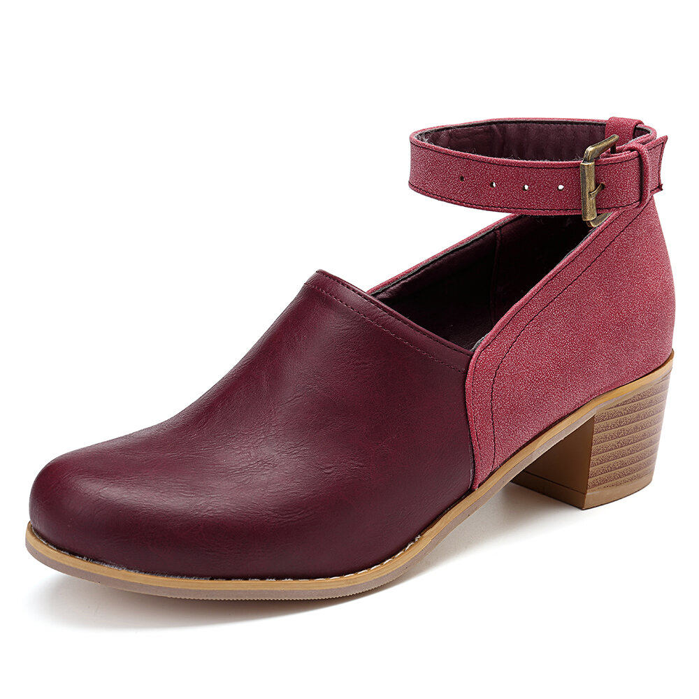 Mixed Color Chunky Heel Round Toe Buckle Boots