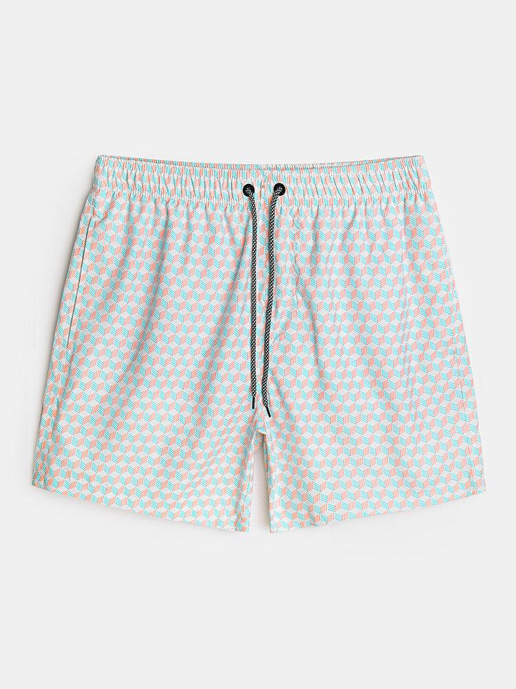 Pantalones cortos deportivos informales de vacaciones con cordón de secado rápido y estampado geográfico para hombre
