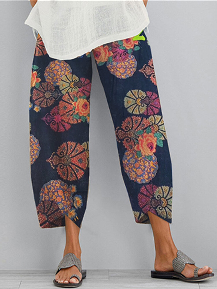 Flower Print Pockets Casual Women Elastic Waist Pants