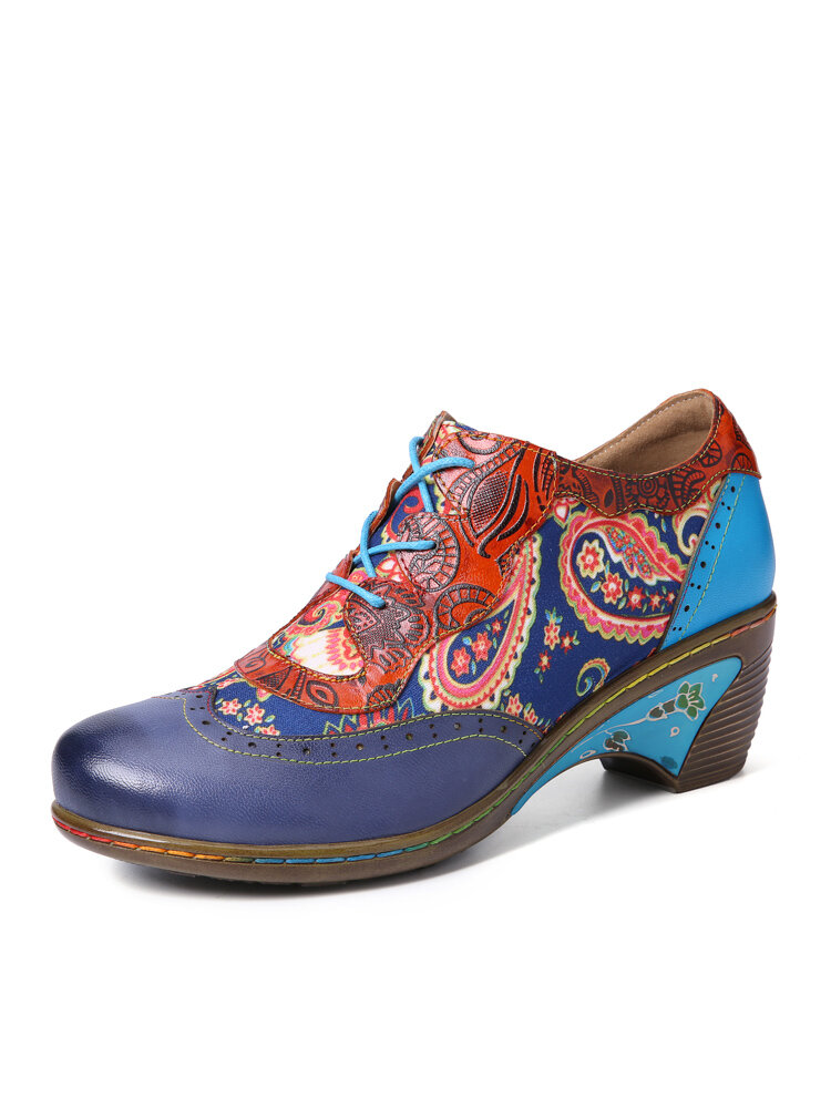 Socofy Retro Bohemian Paisley Print Patchwork Genuine Leather Lace Up Chunky Heel Brogue Shoes