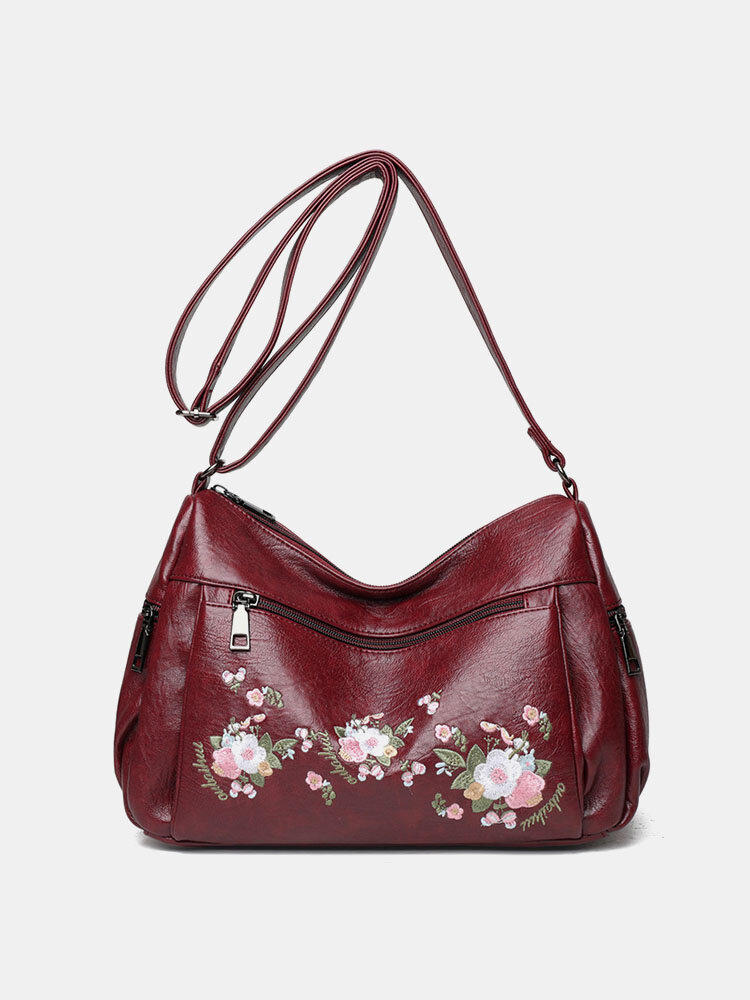 Ethnic Flower Embroidered Texture Hardware Waterproof Breathable Vintage Soft Crossbody Bag