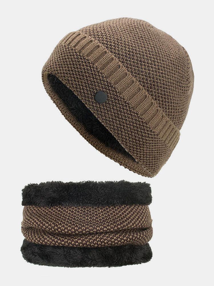 Mens Wool Velvet Knitted Hat Scarf Winter Vogue Ear Neck Warm Scarf Beanie Set