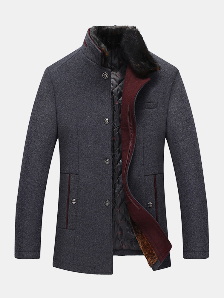 Mens Single Breasted Faux Fur Collar Thick Casual Woolen Overcoats