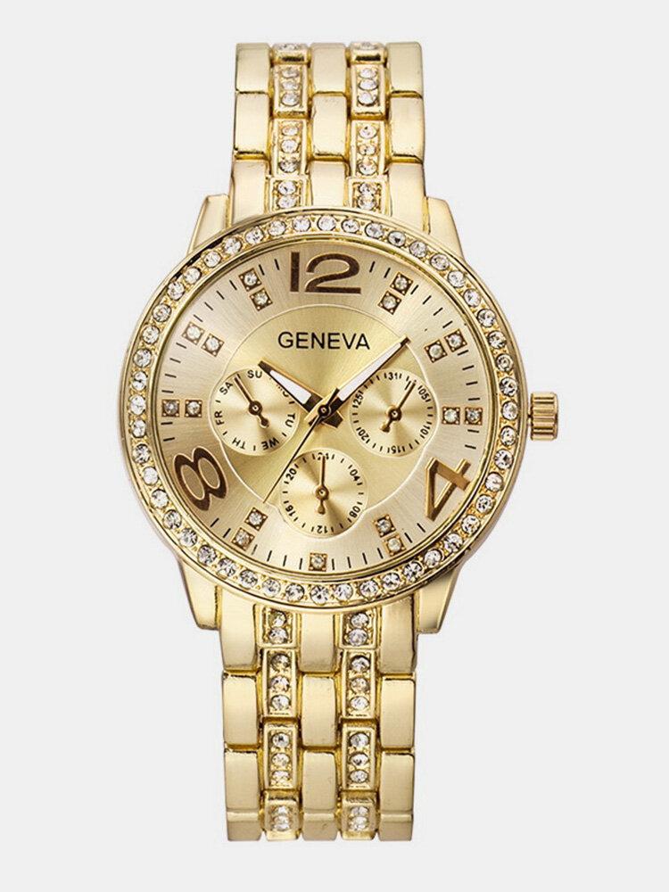 Business Unisex Quartz Wristwatch Luxury Rhinestone Stainless Steel Strap Watches for Women Men