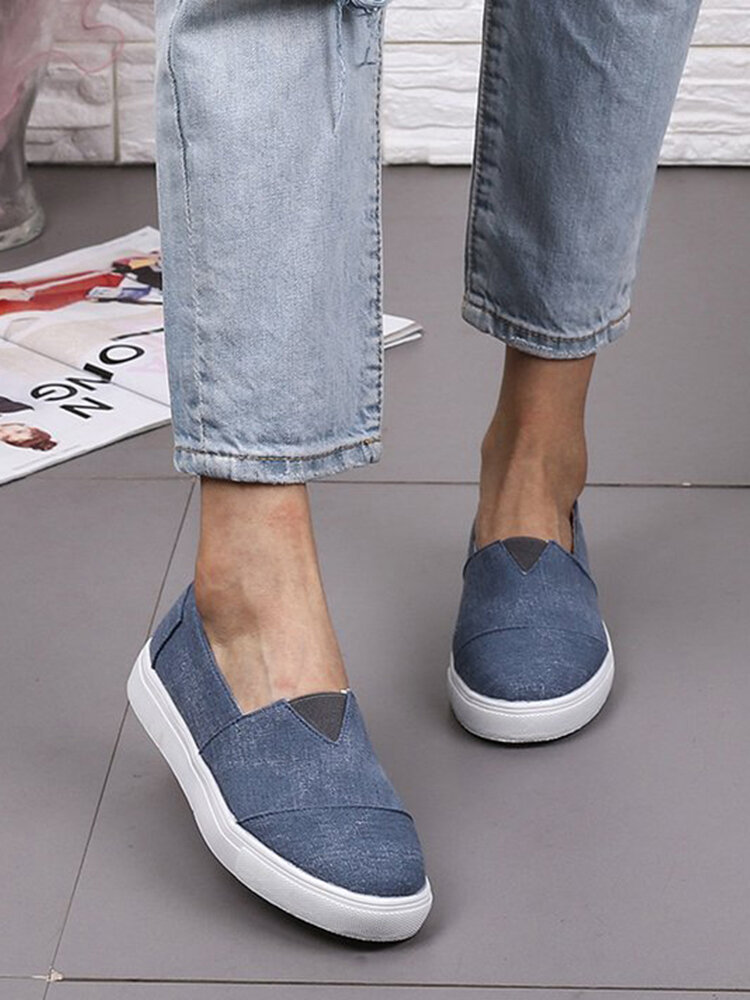 Women Lazy Casual Slip On Brief Comfortable Flat Canvas Skate Shoes