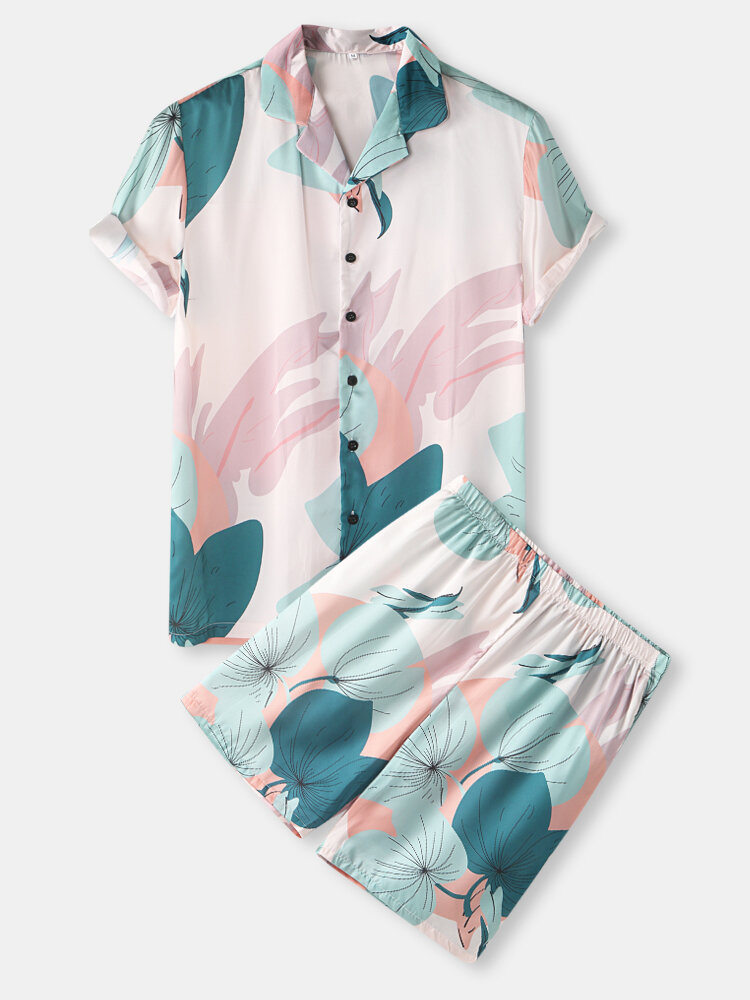 Mens Spring Abstract Leaf Print Revere Collar Short Sleeve Shirt & Shorts Cozy Two Piece Outfits