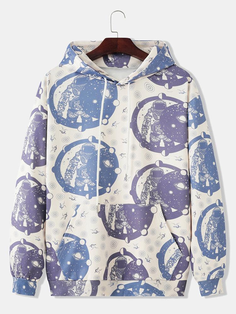 Mens Astronaut Pattern Print Loose Pullover Hoodies With Kangaroo Pocket