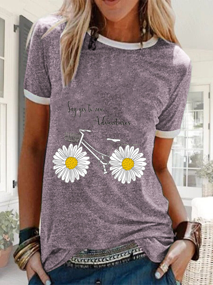 Daisy Floral Bike Letter Printed Short Sleeve Casual T-shirt