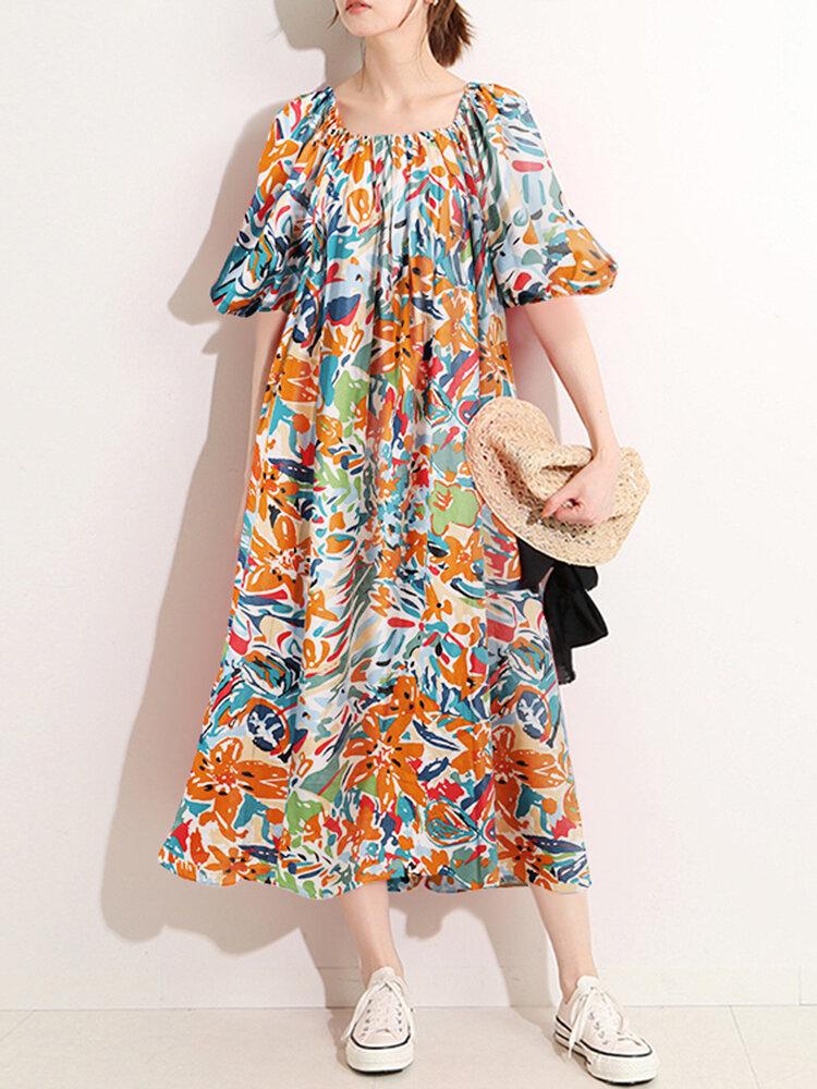Multi-color Painted Print Square Collar Half Sleeve Loose Dress