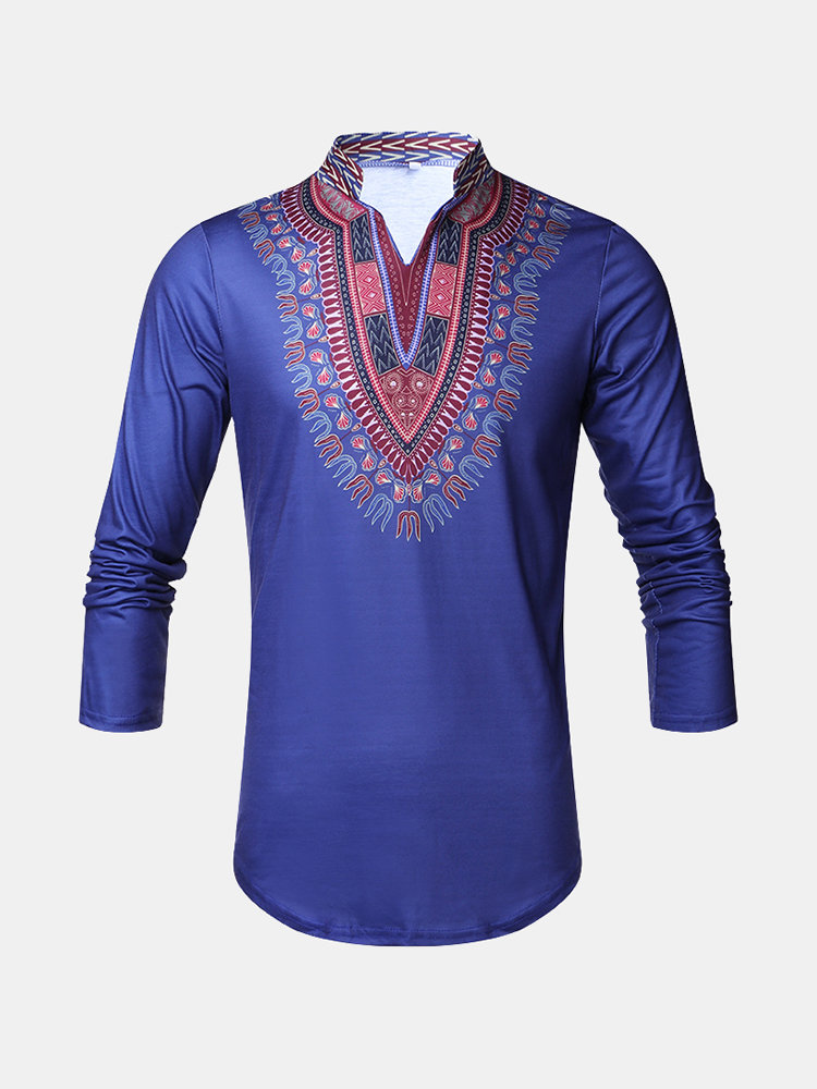 0c865156d Middle East Mens Dashiki Retro Traditional 3D African Ethnic Printed Crew  Neck T Shirts on sale-NewChic