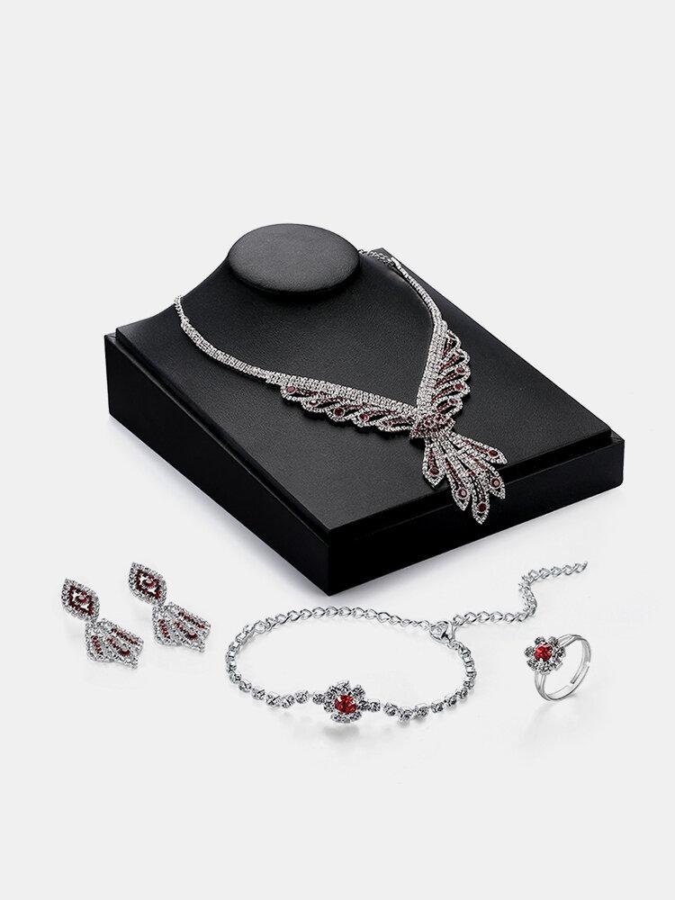 Luxury Jewelry Set Tassel Full Zircon Necklace Earrings Set