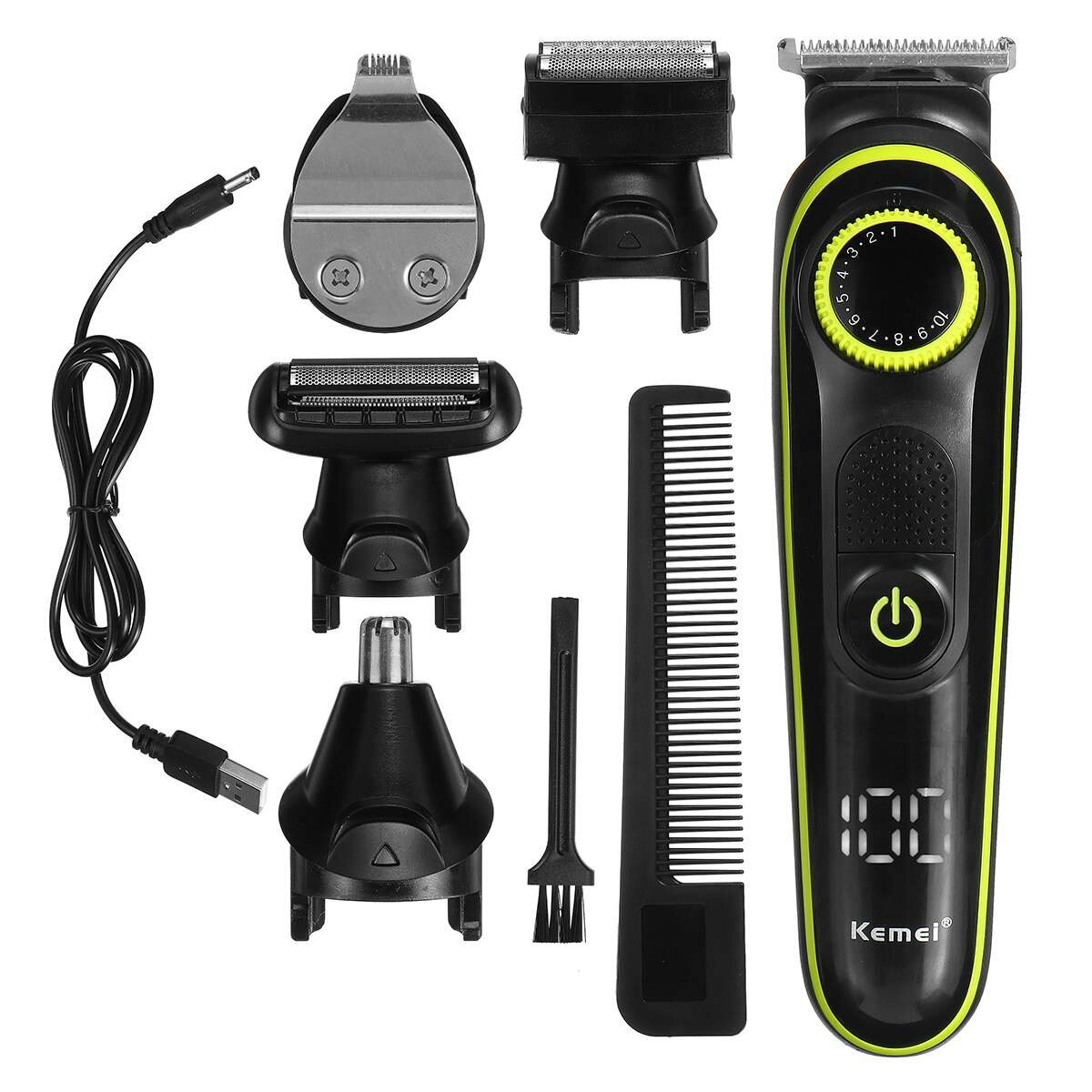 5 In 1 Hair Trimmer Set LED Display Electric Hair Clippers Multifunctional USB Rechargeable Shaver