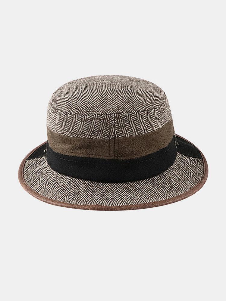 Men Felt Stitching Contrast Color Street Trend Retro Personality Bucket Hat Jazz Top Hat