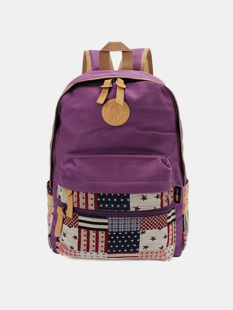 Women Outdoor Geometric Pattern Travel Canvas Backpack