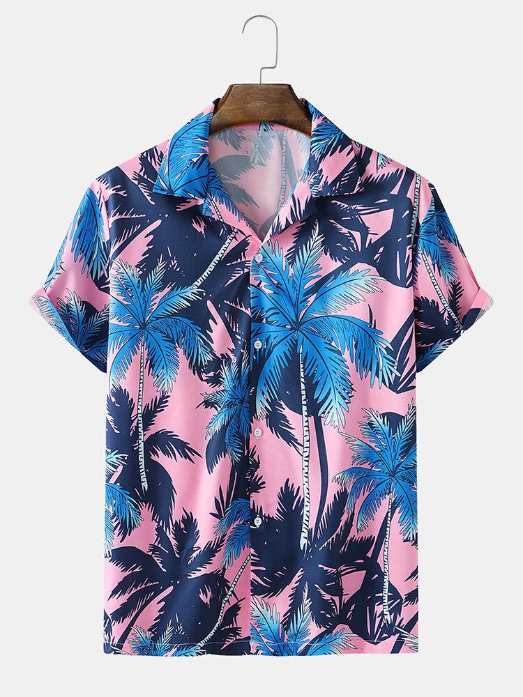Mens Coconut Tree Print Hawaii Holiday Short Sleeve Shirts