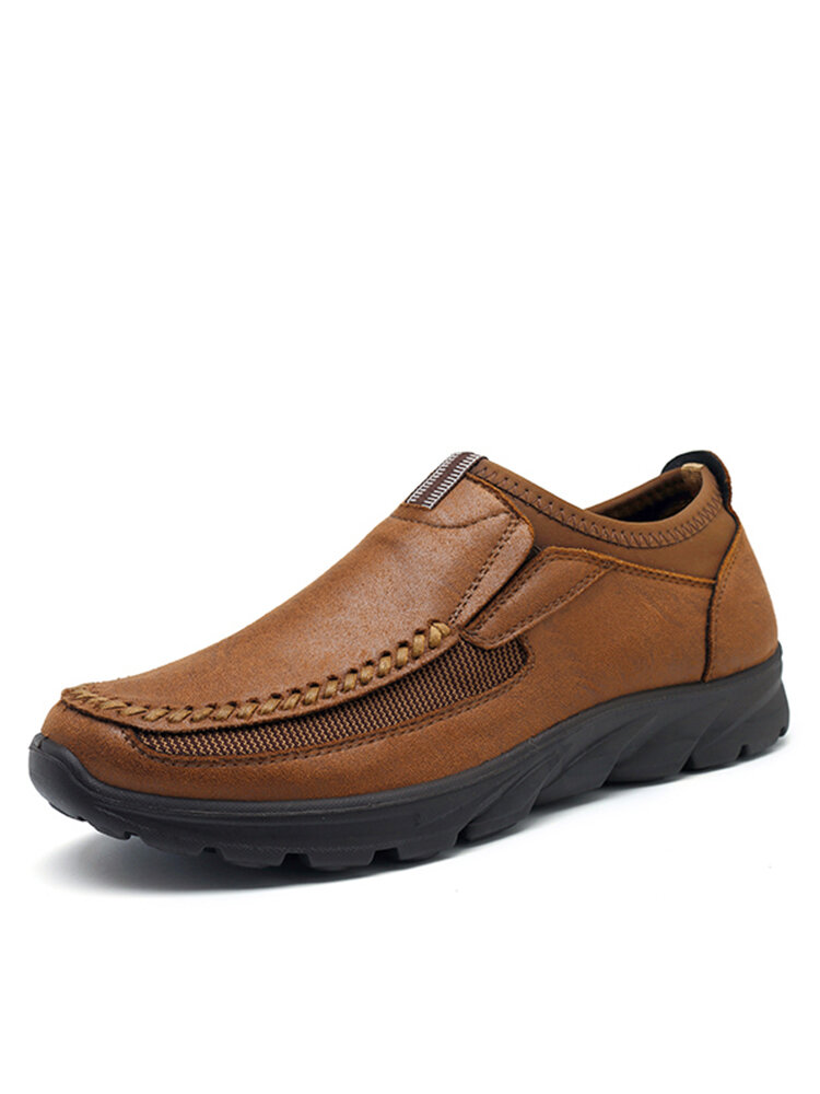 Menico Men Large Size Hand Stitching Microfiber Leather Non-slip Casual Shoes