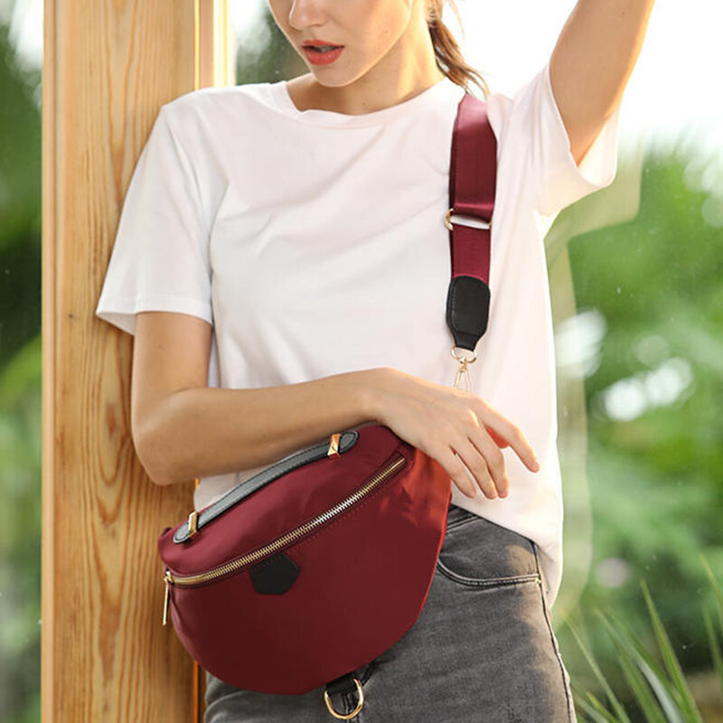 Women's Solid Portable New Nylon Oxford Shoulder Messenger Bag Waist Bag