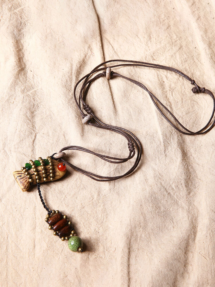 Ethnic Jewelry Vintage Delicate Fish Pendant Ceramics Copper Beads Necklace Long Sweater Necklace