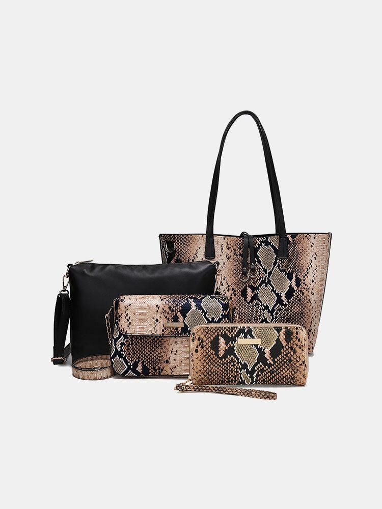 Women 4 PCS Snake Large Capacity Handbag Shoulder Bag