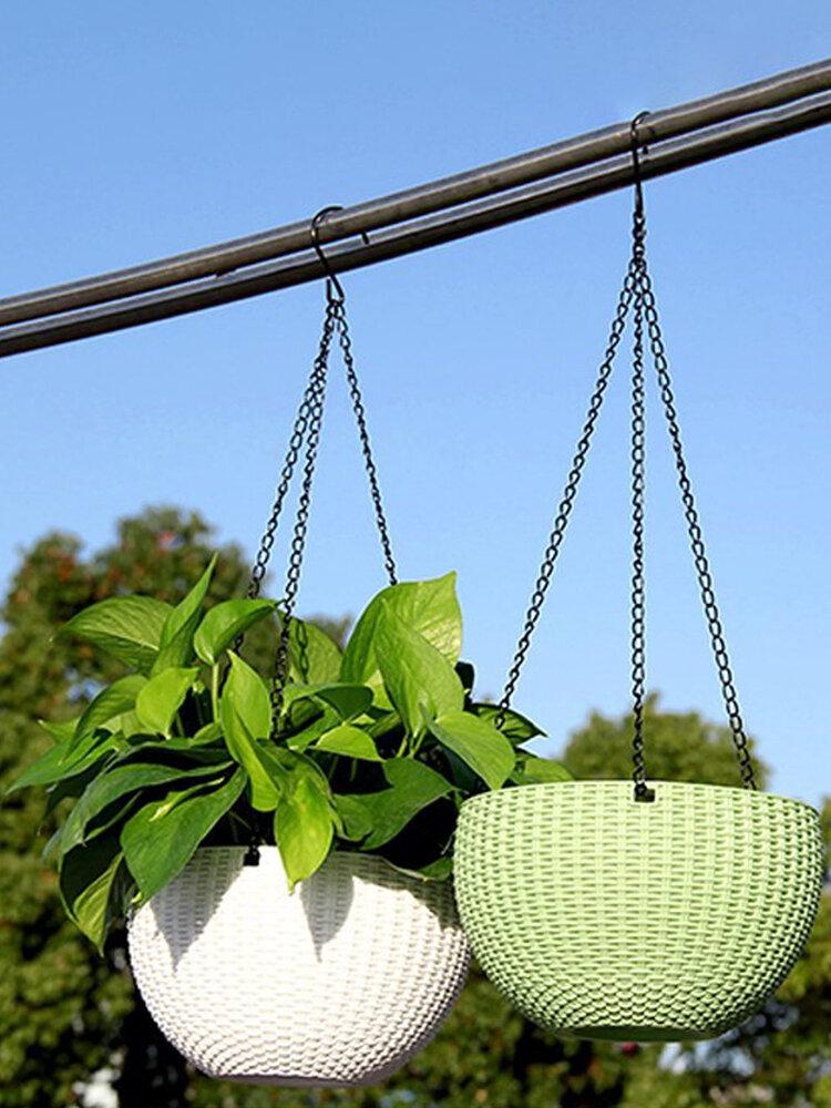 樹脂吊りフラワーポットガーデニングプラントポットフックガーデンプランターバスケットバルコニーの装飾