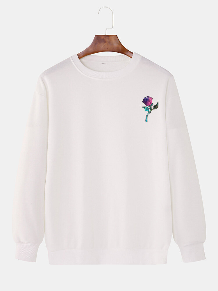Mens Rose Chest Printed Round Neck Pullover Casual Drop Sleeve Sweatshirts