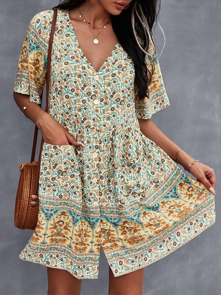 Bohemian Floral Ethnic Pattern V-neck Button Short Sleeve Print Dress